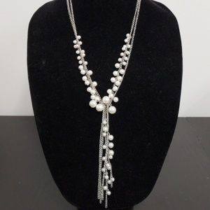 Multi layered pearl accent necklace
